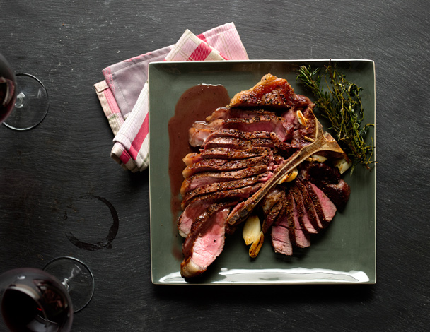 Tuscan Porterhouse Steak with Red Wine–Peppercorn Jus